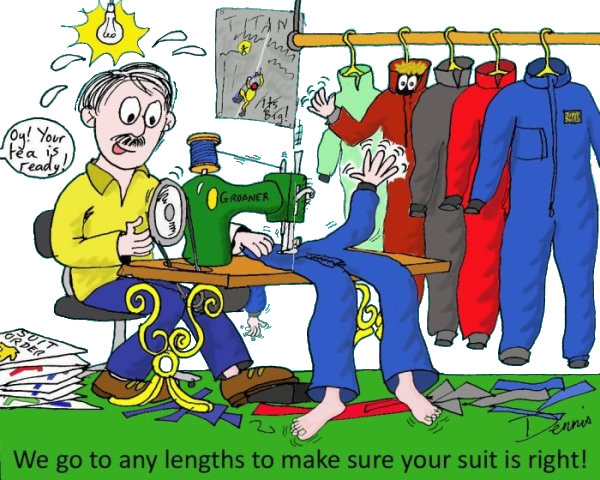 Dennis sewing undersuits
